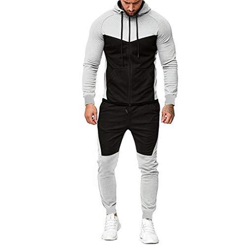 Aoogo Herren Herbst Sets Herren Jogginganzug Spleißen Zipper Print Sweatshirt Top Hosen Sport Anzug Herren Sweatshirt Hosen Sets