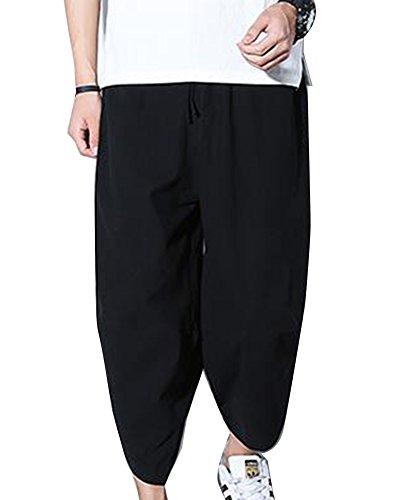Uomo pantaloni larghi hip hop pantaloni harem danza pantaloni baggy casual pinocchietti con tasconi nero 3xl