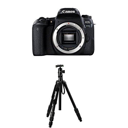 Canon EOS 77D Gehäuse SLR-Digitalkamera (24,2 MP, 7,7 cm (3 Zoll) Display, APS-C CMOS Sensor, Full HD) schwarz+Rollei C5i Schwarz - Neueste Kamera Digital Canon