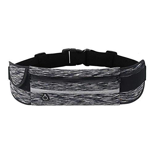 Pouybie Schweißfeste Hüfttasche Laufgürtel Bauchtasche mit 3 Taschen, reflektierender Gurt mit Kopfhörerloch für Handys Größe unter 15,2 cm Taille 70-100 cm -