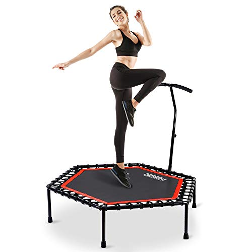 ONETWOFIT 136cm Leises Mini Trampolin mit verstellbarem Lenker für Erwachsene Cross fit Fitness Bungee Rebounder Jumping Cardio Trainer Workout OT088