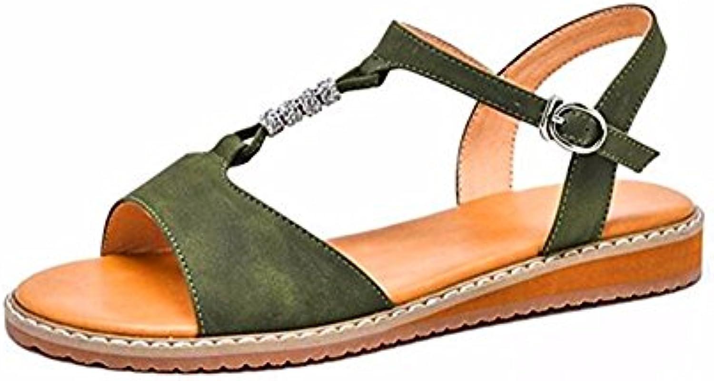 TGKHUS Sandalias Mujeres Botas De Lluvia Cuña Rhinestone T-Strap Pisos Zapatos Suaves