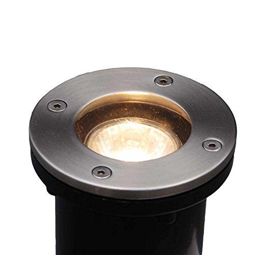 QAZQA Moderne Spot de sol extérieur Basic rond GU10 50W pour extérieur, Verre, Acier inoxydable, Rond / Compatible pour LED GU10 Max. 1 x 50 Watt