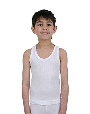 Value Pack 5 Childrens/Boys Thermal Underwear White Sleeveless Vests in Polyester/Viscose, 9-11