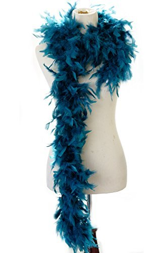 40 gram Burlesque Costume Deluxe Feather Boa : Soft Full Vegas Style 6 ft. (Teal) by Mother Plucker