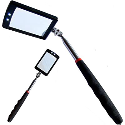 XTools Telescopic Inspection Mirror With 2 Bright LEDs Extends 29-87cm - low-cost UK light store.