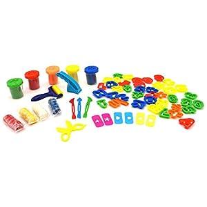 Globo Toys Globo 37683 Kidea - Juego de Letras y números, 4 Salchichas y 5 Botes de Arcilla Blanda