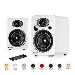 Steljes Ns3 Powered Loud Speakers System British Design Stereo Your Echo, Home Mini Or Iphone Through Bluetooth Wirelessly (Frost White)
