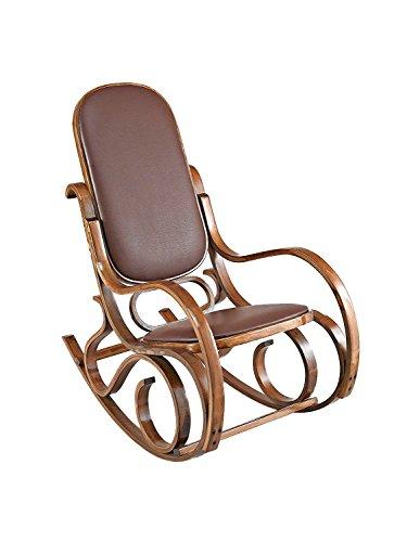 ASPECT Bugholz Antik Stil Schaukelstuhl/Lounge Stuhl/Sessel, Holz, braun, 53x91x96 cm