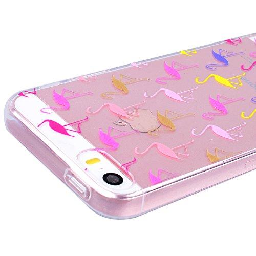 WE LOVE CASE Coque iPhone 5 / 5s / SE, Transparente en Premium Gel Coque iPhone SE Silicone Souple Mince et Clair, Coque de Protection Bumper Gel Motif Coque Apple iPhone 5 iPhone 5S iPhone SE Fleur Flamant