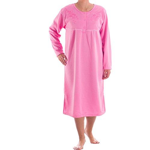 Romesa Thermo Nachthemd - angerauht unifarbend mit hochweritiger Stickerei, kuschlig warm (XL, Pink) (Nachthemd Falten)