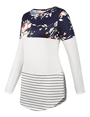 Vessos Damen Langarm Tunika Tops Knit Button Crew Neck Bluse T-Shirt Pullover Muster 1