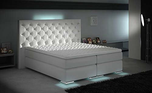 HG Royal Estates GmbH XXXL Boxspringbett Designer Boxspring Bett LED Chesterfield Weiss Größe 180 x 200 cm