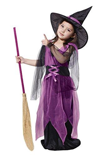 Inception Pro Infinite Kostüm - Hexe - Mädchen - Lila - Schwarz - Halloween - Karneval (Größe L - 6/7 Jahre)