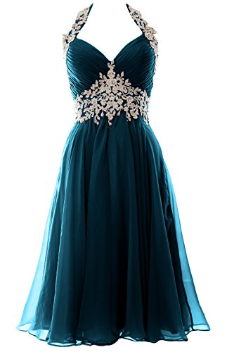 MACloth Gorgeous Short Prom Homecoming Dress Halter Wedding Party Formal Gown Teal