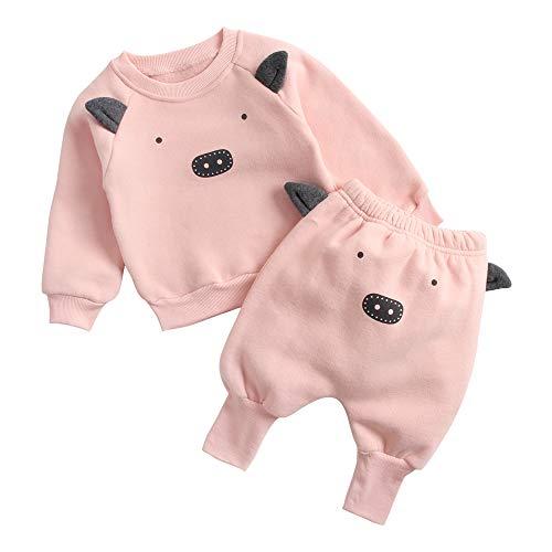 Sanlutoz Hiver Animal Enfant en Bas âge Unisexe Ensemble de vêtements Coton Pulls molletonnés + Sarouel (2-3 ans/100cm, 8163-8165-PIG)