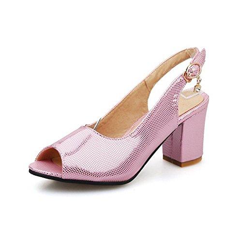VogueZone009 Damen Hoher Absatz Weiches Material Rein Schnalle Sandalen Mit Hohem Absatz Pink