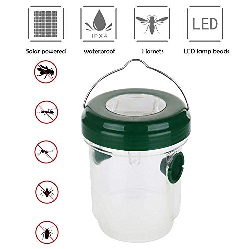 CWeep Ultraviolet Wasp Trap Catcher,Outdoor Solar Powered Trap with Ultraviolet LED Light for Yellow Jackets, Bees, Wasps, Hornets, Bugs and More,Effectively Lures