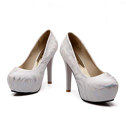 AllhqFashion Damen Pu Rund Zehe Hoher Absatz Gemischte Farbe Pumps Schuhe Weiß