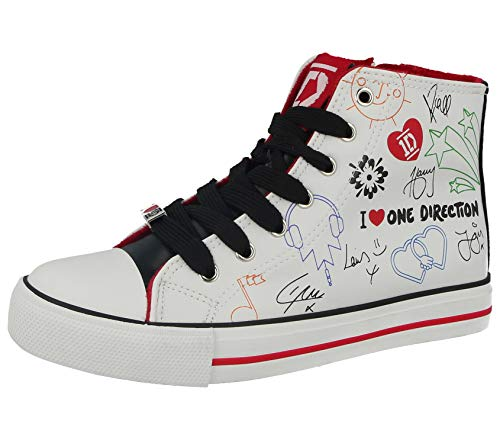 bd17f554ec One Direction Girls 1D High Top Lacy Up Trainer Shoes (UK 2