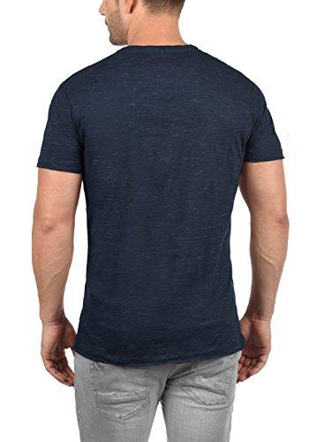 Blend Barnd Herren T-Shirt Kurzarm Shirt Rundhals-Ausschnitt Aus Hochwertiger Baumwollmischung Slim Fit Meliert Navy (70230)