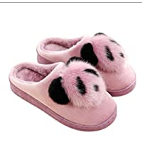 YLYMD 6 Size Cute Cartoon Animation Panda Women Slippers Ladies Non-slip Slip On Warm Plush Slippers Indoor Home Slippers Shoes