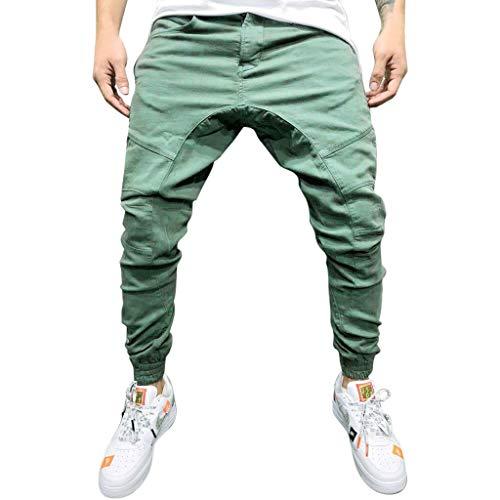Daorokanduhp Men Pants Herren-Hose, leger, Langer Halteschlauf, elastische Tasche, solide Jogger-Slacks, sportlich, modisch, Armee-grün, XX-Large 20 Fleece Open Bottom Pants