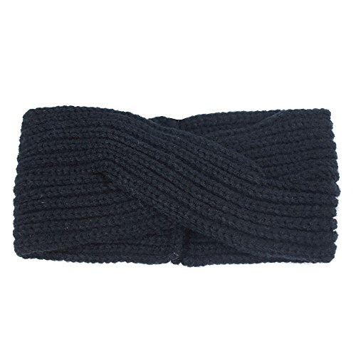 VRTUR Damen Schleife Design Stirnband Winter Kopfband Haarband Stirnband Häkelarbeit (Einheitsgröße,Dunkelgrau)