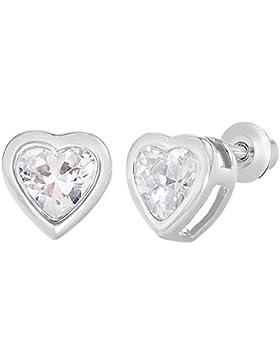In Season Jewelry Kleinkind Mädchen - Schraubverschluss Ohrringe Herzform Sicherheit Rhodiniert Kristall