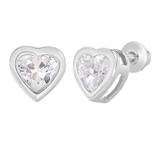 In Season Jewelry Kleinkind Mädchen - Schraubverschluss Ohrringe Herzform Sicherheit Rhodiniert (Valentinstag Outfit Für Kleinkind)