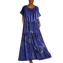 GreatestPAK Damen Übergrößen Ethnischer Stil Druck Langes Maxikleid Baumwolle Leinen Rundhalsausschnitt Kurzarm Kleiderrock,Blau,XL