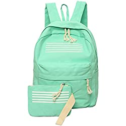Rrimin 2pcs Teenagers Canvas School Bag Strip Backpacks Outdoor Bag (Green)