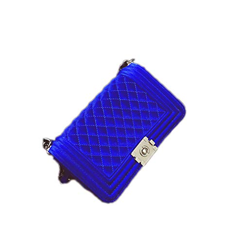 Dooney Frauen Handtasche (ANANXILA Diamond Lattice Damen Tasche Handtaschen Kette Frauen Messenger Bag Velvet Blue)