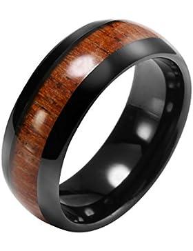 JOVIVI Herren Wolframcarbid Wolfram Ring mit Braun Holz Tungsten Ringe Hochzeit Wedding Band Ring 8mm Schwarz,...