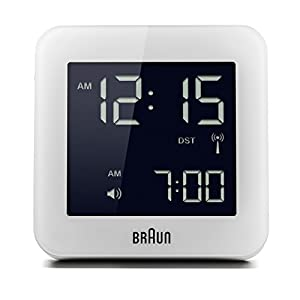Braun Digital Multi-Region Radio Controlled Alarm Clock with Snooze, Negative LCD Display, Quick Set, Beep Alarm in White, BNC009WH-RC