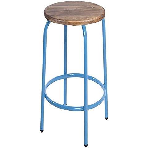 Indhouse - Taburete para bar diseño loft y estilo industrial vintage en hierro y madera Palma high