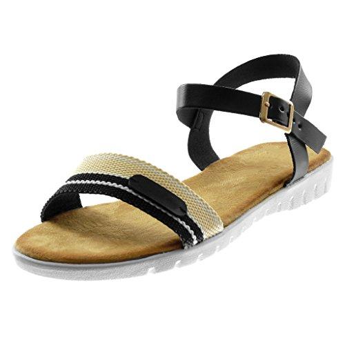 Angkorly Scarpe Moda Sandali con Cinturino Alla Caviglia Suola di Sneaker bi-Materiale Donna Tricolore Tanga Fibbia Tacco Zeppa 2 cm Nero