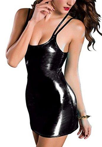 Hmeng Kleid, Lackleder Spitze Wäsche elastische Größe frei Minikleid Clubwear (M, Schwarz)
