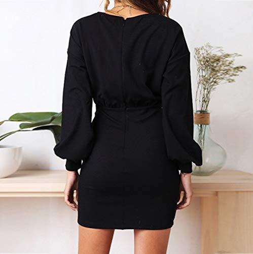 Longra Abito a Maniche Lunghe Autunno Donna Business Dress Donna Moda Vestiti da Sera Eleganti Corto Vestito Manica Lunga Rotondo Collo Abito Camicetta