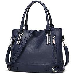 Bolso Bandolera Mujer Bolsos Mujer de Cuero PU Casual Bolso Shopper Bolso de Hombro Bolsa Tote Gran Capacidad,Azul