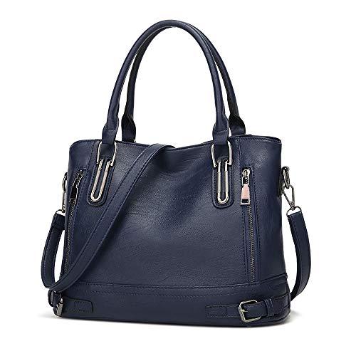 Damen Handtasche PU Leder Henkeltasche Top Griff Tasche Vintage Weiches Umhängetasche Schultertasche für Frauen - Dunkelblau (Tasche Griffe)