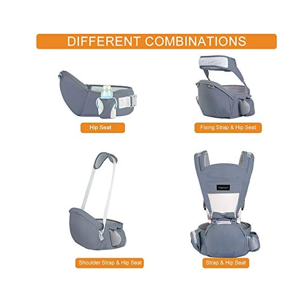 Azeekoom Baby Carrier, Ergonomic Hip Seat, Baby Carrier Sling with Fixing Strap, Bibs, Shoulder Strap, Head Hood for Newborn to Toddler from 0-36 Month (Gray) Azeekoom 【More Ergonomic】 - Baby carrier for newborn has an enlarged arc stool to better support the baby's thighs, the M design that allows the knees to be higher than the buttocks when your baby sits, is more ergonomic.The silicone granules on the stool provide a high-quality anti-slip effect that prevents the baby from slipping off the stool. 【Various Methods of Carrying】- There are 5 combinations of ergonomic baby carrier and a variety of ways to wear them.Hip Seat/Fixing Strap + Hip Seat/Shoulder Strap + Hip Seat/Strap + Hip Seat/Strap, 5 combinations to meet your needs.Fixing Strap frees your hands and prevent your baby from falling over the stool.The shoulder straps reduce the burden on your waist and make you more comfortable. 【More Comfortable】 - The baby carrier is made of high quality cotton fabric with 3D breathable mesh for comfort and coolness. The detachable sunshade provides warmth in winter and fresh in summer. The detachable cotton slobber allows you to Easy to change. At the same time, the zip closure is designed for easy removal and cleaning. 4