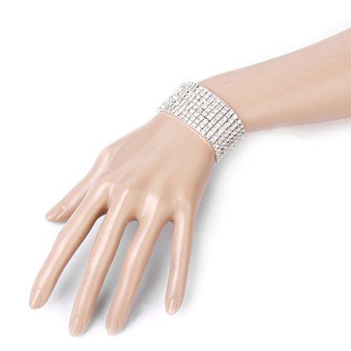 Hochzeit Braut- dehnbar 8 Reihe Strass Armband Armreif 28mm