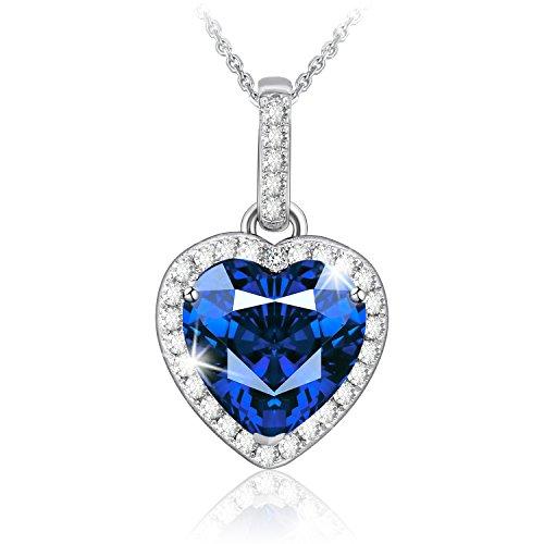 """J.Rosée Collar Mujer Plata de Ley 925 Brillante Circonita Azul """"Corazón del Mar"""" Cadena 45cm-50cm Regalo Original para Amor"""