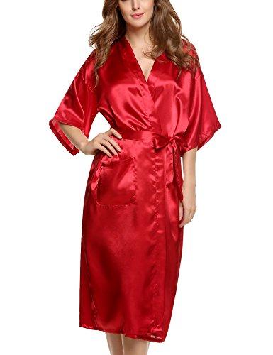 ADOME Damen Satin Kimono Bademantel Robe Lange Nachtwäsche Saunamantel Nightwear Pyjama mit Taschen Morgenmantel Rot XXL