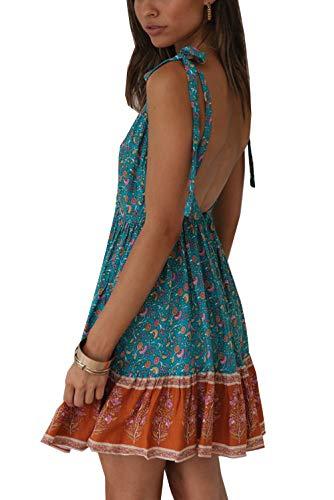 ACLOIN Damen Sommer Kleid Kurz Rückenfrei v-Ausschnitt Ärmellos Sommerkleid Blumen Kleid Strandkleid (Blau, XL) - Kurz V-ausschnitt Kleid