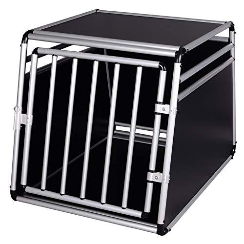 EUGAD Hundebox Transportbox Hundetransportbox für Kofferraum Reisebox Gitterbox Alu Auto Schwarz/Silber 0003LL