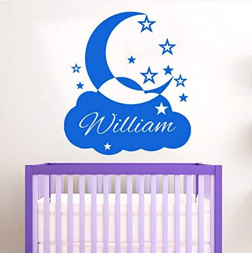 e Namen Wandaufkleber Wolken Mond Und Sterne Dekorative Custom Wall Decal Vinyi Für Ihren Süßen Traum58X65Cm ()