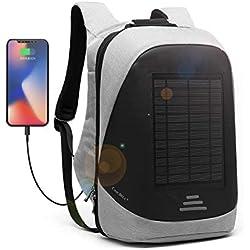 Solaire Sac a Dos 25L Sac a Dos Ordinateur Portable Pour15.6 Pouces Sac Imperméable avec Port de Chargement USB Sac à Dos D'extérieur PC portable avec Charge de Panneau Solaire de 5 Watts-Gris