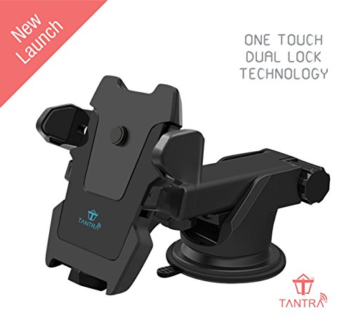 Tantra Twist Smart Universal Mobile Stand For Car (Car Mount) With Quick One Touch Technology (Expandable & Rotatable) With Double Shift Locking For Windscreen, Dashboard & Table Desk (Black).
